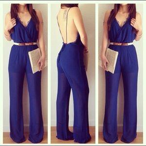 Pants - Lace trim jumpsuit